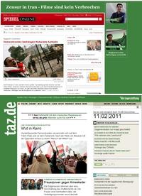 Aktuelle Screenshots von Nachrichtenportalen