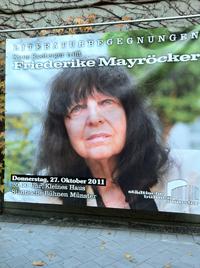 Plakat zur Literaturbegegnung mit Friederike Mayröcker