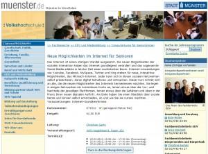 Programminformation VHS-Kurs Münster Neue Möglichkeiten im Internet