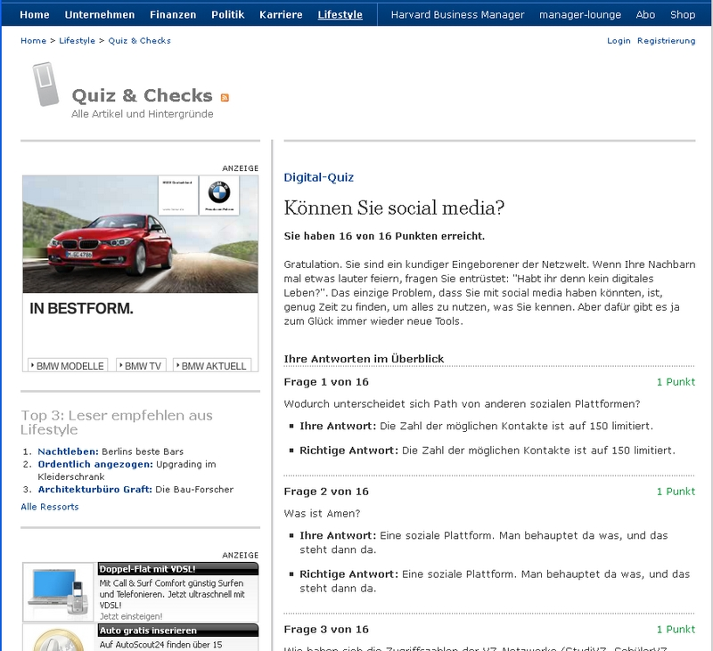 Screenshot Manager Magazin Quiz Social Media