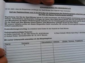Unterschriftenaktion Umbennung Hindenburgplatz Münster