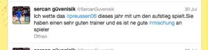 Twitter Statement Sercan Güvenisik zum SC Preussen Münster