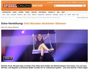 Screenshot zum Artikel Echo Preisverleihung 2013 Spiegel Online