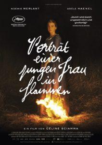 Plakat zum Film Portät einer jungen Frau in Flammen mit Adele Haenel vor einem Feuer.