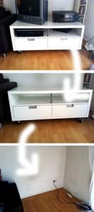 Bild einer TV-Bank, auf der der Fernseher verschwunden ist