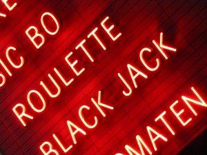Reklametafel Spielcasino Roulette Black Jack