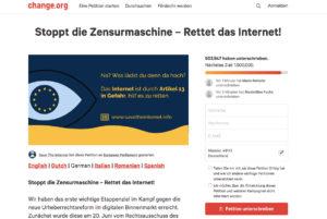 Screenshot von der Petition zum Thema LSR 2018.