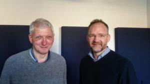 Martin Scharfenberger und Christian Gertz im Radiostudio.